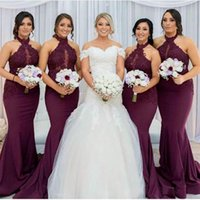 Burgundy Mermaid Bridesmaid Dresses 2021 Elegant Arabic Halter Neck Lace Appliques Wedding Guest Party Dresses Vestido de Feista
