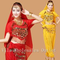Belly dance clothes costume belly dance set indian dance wear 7pcs Top&Pant&Belt&Veil&Necklace&Bracelet&Earrings6 colors VL-300