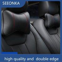 Nackenkissen Autositz Kopfstütze Baumwolle und echtes Leder Knochenförmige Doppelkante Verdicken Kissen