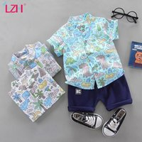 Clothing Sets LZH 2021 Short Sleeve Printed Shirt Solid Color Shorts Outfit Summer Baby Boys Clothes For Infant 0-1-2-3-4 Years Kids Suit