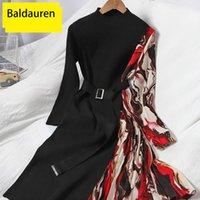 Повседневные платья Baldauren Сексуальная высокая талия вязаные женские цыганцы противоречат цветной цвет с длинным рукавом половина воротника A-Line 2021 зима