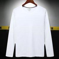 t shirt merci semplici | T-shirt da primavera e autunno round t-shirt a colori solidi casual da uomo a maniche lunghe da uomo