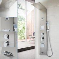 Bathroom Shower Sets YANKSMART Fashion Luxury Column Panel Hand Massage Jets Brushed Nickel Plate Faucet