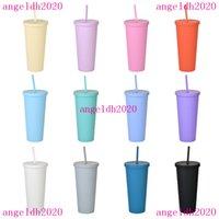 Copo de plástico duplo copo sippy com tampa 22oz straight feita sob encomendafrosted água