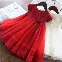Dantel Çiçek Kız Yaz Elbiseler Gazlı Bez Kısa Kollu Kırmızı Beyaz Prenses Elbiseler Bebek Giysileri 2-8Y E88632