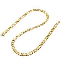 Déclaration Bijoux 24K Jaune Jaune Gold Men's Collier + Bracelet Ensemble Figaro Curb Chain 20 '' / 22 '' / 24''26 '' 234 R2
