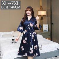 Women's Sleepwear Sexy Women Night Dress Silk Pajamas Nightgown Robe Underwear Plus Size Satin 4xl 6xl Nuisette Lingerie