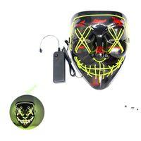 10 colores! Máscara de fiesta de asustadizo de Halloween Cosplay LED máscara iluminar la máscara de horror del alambre para el Festival Party by Sea OWEE9621