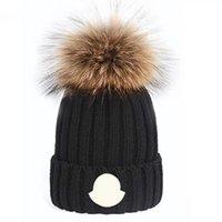 Toptan Yüksek Kalite Kış Kapaklar Şapka Kadın Ve Erkekler Beanies ile Gerçek Rakun Kürk Ponpons Sıcak Kız Kap Snapback Ponpon Beanie