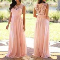 Vintage Lace Patchwork Long Women Dresses Plus Size S 5xl Wedding Bridesmaid Party Maxi Robe Femme Vestidos Pink