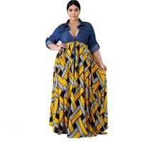 Ethnic Clothing 3XL 4XL Plus Size Autumn Africa Trendy Stripe Printed Long Sleeve Maxi Dress Women Robe Party African