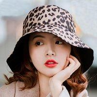 Fashion Reversible Women Leopard Bucket Cappello per ragazze Due lati Primavera Sun Estate Sun Anti-UV Sea Beach Panama Wide Brim Cappelli