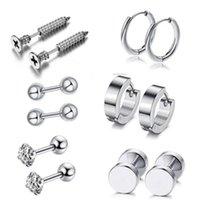 12 unids / set Partamentos de oreja de acero inoxidable Unisex Tornillo Barbell Piercing Pendientes Anillo para las mujeres Decoración de la joyería de los hombres 1973 Q2