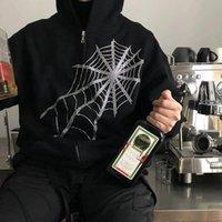 Women's Hoodies & Sweatshirts Sweatshirt Gothic Black Rhinestone Fairy Grunge Hooded Women Punk Jacket Coat Harajuku Zipper Hoodie Fashion C