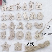 Creative wood chip digital Decoration Christmas Tree Pendant 1 to 24 numbers