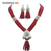 Jewelry Sets Sunspicems Morocco Caftan Bead Wedding Set Antique Gold Color Full Rhinestone Long Drop Earring Tassel Pendant Necklace V9SC