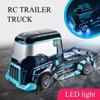 Control remoto Camión pesado Niños de juguete eléctrico Drift Big RC Contenedor Camión Trailer Head RC Camión Modelo de juguete con luz LED