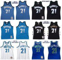 Kundenspezifische genähte Basketball-Trikots 21 Kevin Garnett Jersey Mitchell Ness 1995-96 97-98 03-04 Hardwoods Classics Retro Männer Frauen und Jugend S-6XL Wear