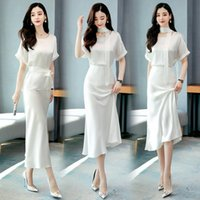 Two Piece Dress 2021 Summer Pieces Suits Elegant Women Short Sleeve O-neck Blouse Tops Shirt And Long Skirt Lady 2 Sets