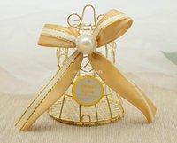 هدية التفاف 100 قطع الطيور قفص جرس الحلوى مربع الحديد الزفاف الصناديق الذهبية الطفل ميلاد عيد الميلاد الاحتفال حزب الضيوف العودة