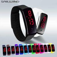 Sailwind Sports Women Moda À Prova D 'Água LED Eletrônica Relógios Soft Sile Band Bracelet homens