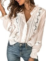 Spring Fall White Blouse For Women Fashion Casual Loose Long Flare Sleeve Top Shirt Hollow See-Through Crochet Flower Dots Women's Blouses &