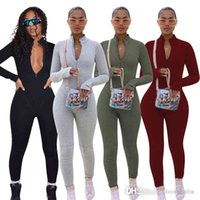Sexy Wholesale Women Jumpsuits Fall One Piece Rompers Design Update Adult Onesie Zipper Up Plus Size Women Clothing