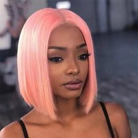 Bob Lace Front Human Hair Wigs 13X4 Blonde Pink Blue Grey Green Orange Ginger Colored Short Bob Lace Frontal Wig Closure Wig