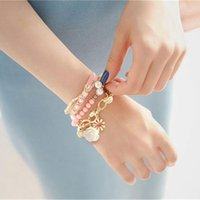 Bohemian Fashion Candy Color Pearl Rose Flower Multilayer Beads Stretch Charm Bracelet & Bangle For Women Pulseras Mujer Beaded, Strands