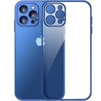 Luxury Square Frame Plating Clear Frosted Phone Cases For iPhone 12 11 Pro Max Mini X XR 7 8 Transparent Matte Silicone Cover