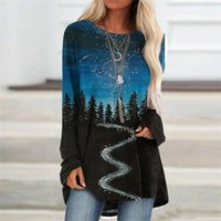 Women's Blouses & Shirts Women Mountain Printed 2021 Winter Long Sleeve Tops Woman And Plus Size Clothes Blusas Mujer De Moda