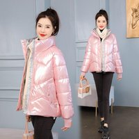 Women's Down & Parkas Glossy Stand Collar Woman Winter Puffer Jacket Plus Size Coat Wind Break Quilted Coats Cropped Kawaii Korean Jackets O