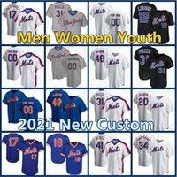 맞춤 12 프란시스코 Lindor Mets Jerseys 20 Pete Alonso 48 Jacob Degrad Baseball Darryl 딸기 마이크 Piazza Conforto Gooden Hernandez