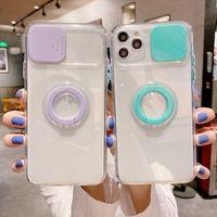 iPhone 12 휴대폰 케이스의 경우 눈부신 푸시 윈도우 링 브래킷 렌즈 All-inclusive anti-fall 휴대 전화 케이스