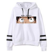 Luffy Gözler Baskı Hoodies Erkekler Tek Parça Anime Tişörtü Polar Sıcak Kapüşonlu Cepler Streetwear Kazak Sudaderas Y0802