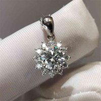 18k White Gold Excellent Cut 1ct d Snowflake Moissanite Necklace Vvs1 Diamond Test Past Gemstone Pendant Necklaces for Women 3hcb