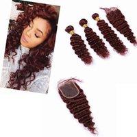 Paquetes de pelo peruanos rojos con cierre profundamente ondulado 4 \