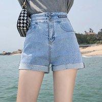 Women's Shorts #3070 High Waist Denim Woman Summer Thin Wide Leg Pants Ladies Casual Loose Cotton Jeans Girls Sexy Blue Black