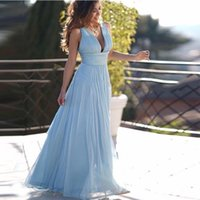Fashion Light Blue Chiffon Evening Dress Sexy V-neck High Waist Long A-line Prom Gown for Formal Occasions Custom Made