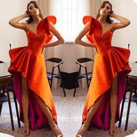 Unique Design Hi Lo A Line Prom Dresses Sexy Tiered One Shoulder Evening Gowns African Sweep Train Party Club Wear Outfit