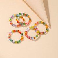 اليدوية والمجوهرات بالجملة الإبداعية الحلوى الملونة حلقة الخرزة مطرز ملون حبة الزجاج حبة الدائري