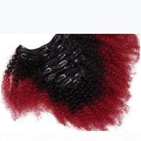 Afro Kinky Kıvırcık Ombre Insan Saç Uzantıları Klip Siyah Kadınlar Için T1B Kırmızı Iki Ton Perulu Bakire Saç Klip Ins 7 adet 100g