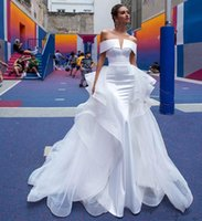 White Mermaid Satin Vintage Wedding Dresses Bridal Gowns Off Shoulder abiti da sposa 2022 New Wedding Gowns With Detachable Train Nigeria