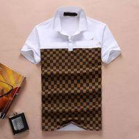 إيطاليا الرجال قمصان بولو الأفعى النحل التطريز الأزياء عارضة عالية الشارع الملابس رجل قميص تيز قمم