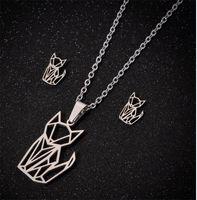SMJEL Многократная нержавеющая сталь Крест Сердце Ожерелья Женщины Золотые Ювелирные Изделия Комплекты Простая Бабочка Кошка Серьги Луны Цветок Оптовая 1689 V2