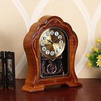 European Style Retro Living Room Household Clock Imitation Solid Wood Table Plastic Bedroom Silent 305 Desk & Clocks