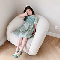 Fashion New Girls Dress 2021 Summer Kids Girl Flowers Party Dresses sweet Baby Lovely Green Cotton Clothes