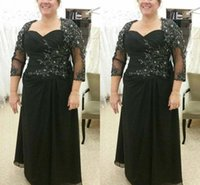 Black Chiffon Mother Of The Bride Dresses A-line 3 4 Sleeves Appliques Beaded Plus Size Groom Dress For Evening Party Gowns
