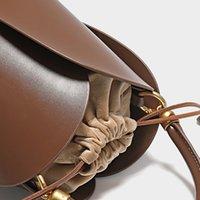 Luxury handbags hand Niche Leather petal bucket French drawstring soft leather unique velvet handle bag RVYH NA08