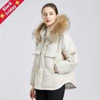 FitAylor inverno grande real guaxinim com capuz jaqueta curta mulheres 90% branco pato para baixo casaco parkas irregular mornar neve outwear mulheres